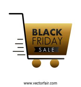 black friday sale lettering in shopping cart
