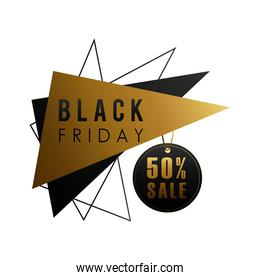 black friday sale lettering in triangular figures and tag hanging