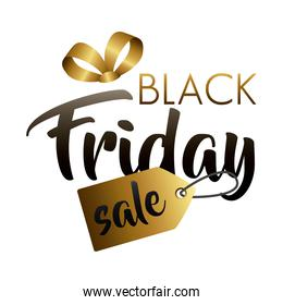black friday sale lettering with golden tag hanging