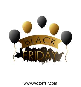black friday sale lettering label with balloons helium and golden ribbon frame