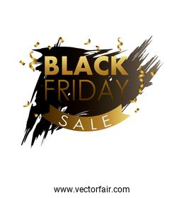 black friday sale label in black paint stain with golden lettering and ribbon