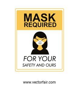 mask required square label stamp with woman using mask