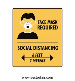 mask required and social distancing square label stamp with man using mask
