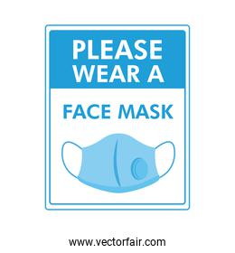 please wear a mask required label stamp with face mask