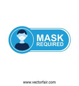 mask required label sticker with man wearing mask
