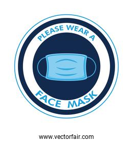 mask required circular label stamp with face mask and lettering around