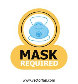 mask required label sticker with medical mask
