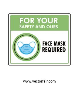 mask required label stamp with medical mask accessory