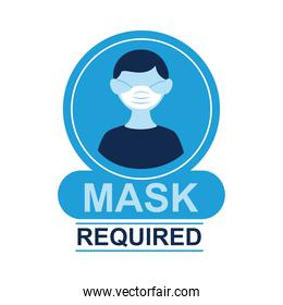 mask required label sticker with man wearing face mask