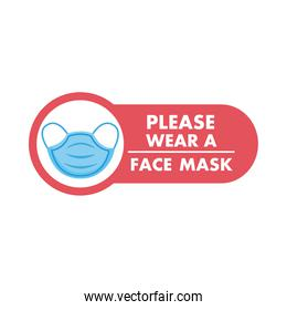mask required label red sticker with lettering and face mask