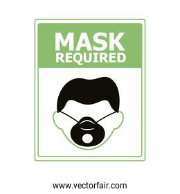 mask required square label stamp with man wearing mask