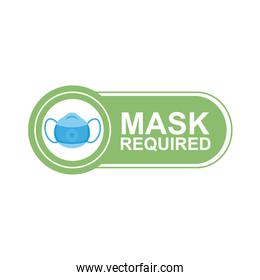 mask required label sticker with medical mask and lettering