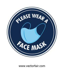mask required circular label stamp with lettering and face mask