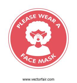 mask required circular label stamp with woman wearing face mask