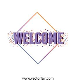 welcome label lettering with purple letters