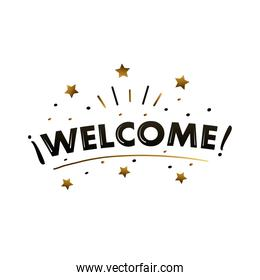 welcome label lettering with golden stars