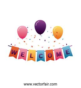 welcome label lettering in garlands hanging with balloons helium
