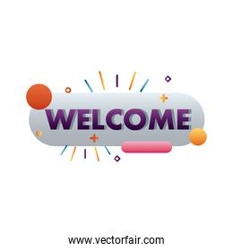 welcome label lettering in button with circles