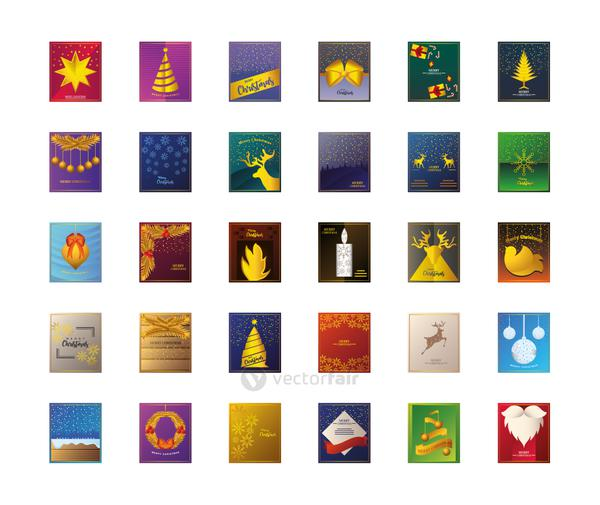 merry christmas, greeting card celebration season party traditional, set icons