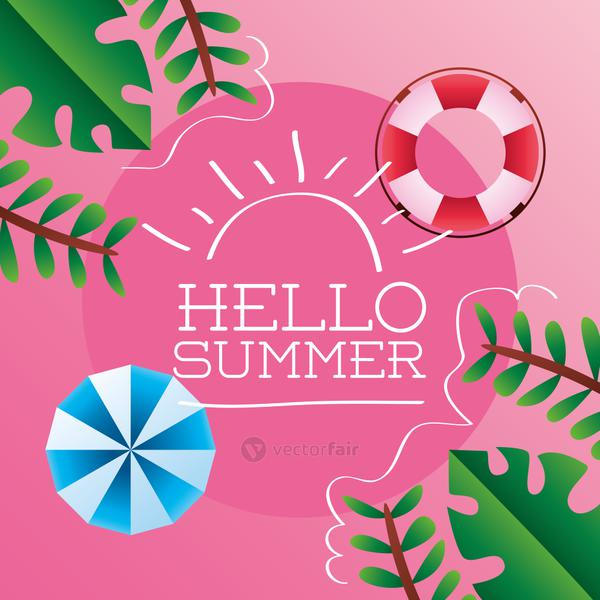 hello summer season lettering with umbrella and lifeguard float