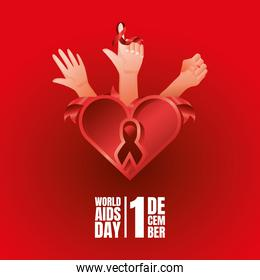 world aids day, hands with awareness ribbon and heart card
