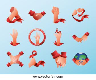 world aids day, pack icons with hands awareness ribbon and planet