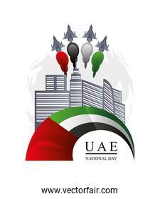 UAE National day, planes flying in the city with smoke colored flag