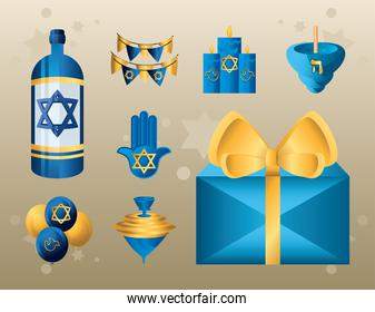 hanukkah, religious traditional culture judaism flat icons collection