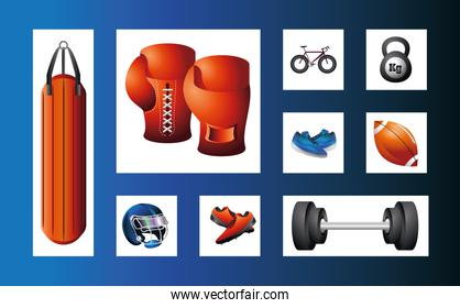 set icons of boxing gloves, bicycle, kettlebell, helmet, ball sport equiment detailed