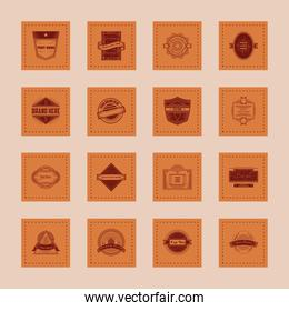 vintage insignias or logotypes brand stickers style icons set