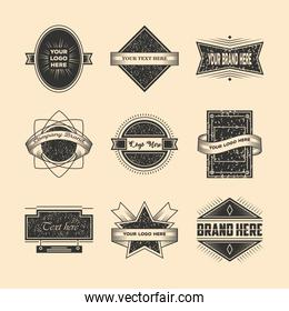 vintage insignia or logotype brand set, elements, business signs