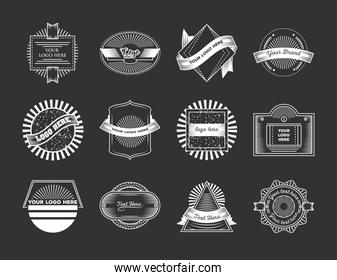 emblem template collection, vintage insignia or logotype brand