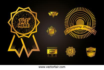 golden vintage insignias or logotypes brand collection