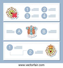 coronavirus covid 19, infographic banners with prevention measures sticker icon