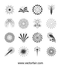 fireworks celebration festive party style sunburst icons set