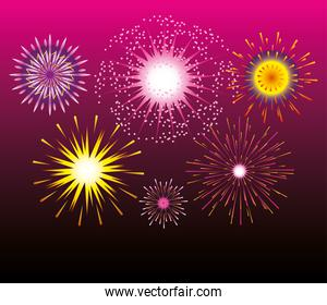 fireworks celebration festive party bright pink gradient background