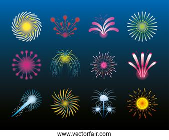 fireworks luminosity celebration festive party gradient background