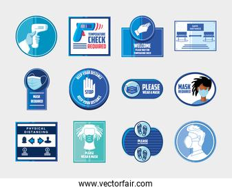 prevention of covid 19, safety measures and precautions warning signs, set icons