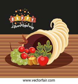 happy thanksgiving cornucopia with apple grapes and olive branch nature