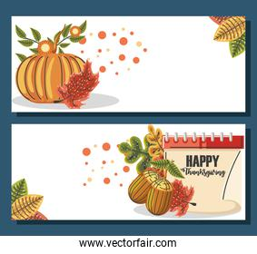 happy thanksgiving autumn leaves pumpkin and calendar, hand drawn text lettering