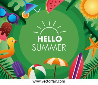 hello summer season lettering with set icons and leafs palms