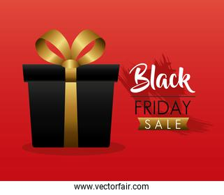 black friday sale label with gift in red background