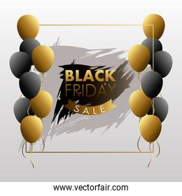 black friday sale lettering with golden ribbon and balloons helium
