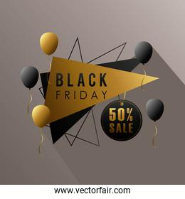 black friday sale lettering in triangular figures with balloons helium