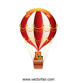 balloon air hot with christmas gifts