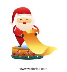 cute santa claus with gifts list christmas toy