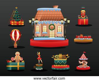 cute house and bundle of christmas toys