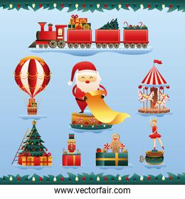 santa claus and bundle of christmas toys set icons