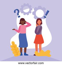 interracial women doubting with question marks and gears
