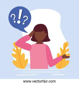 young afro woman doubting with question marks in speech bubble